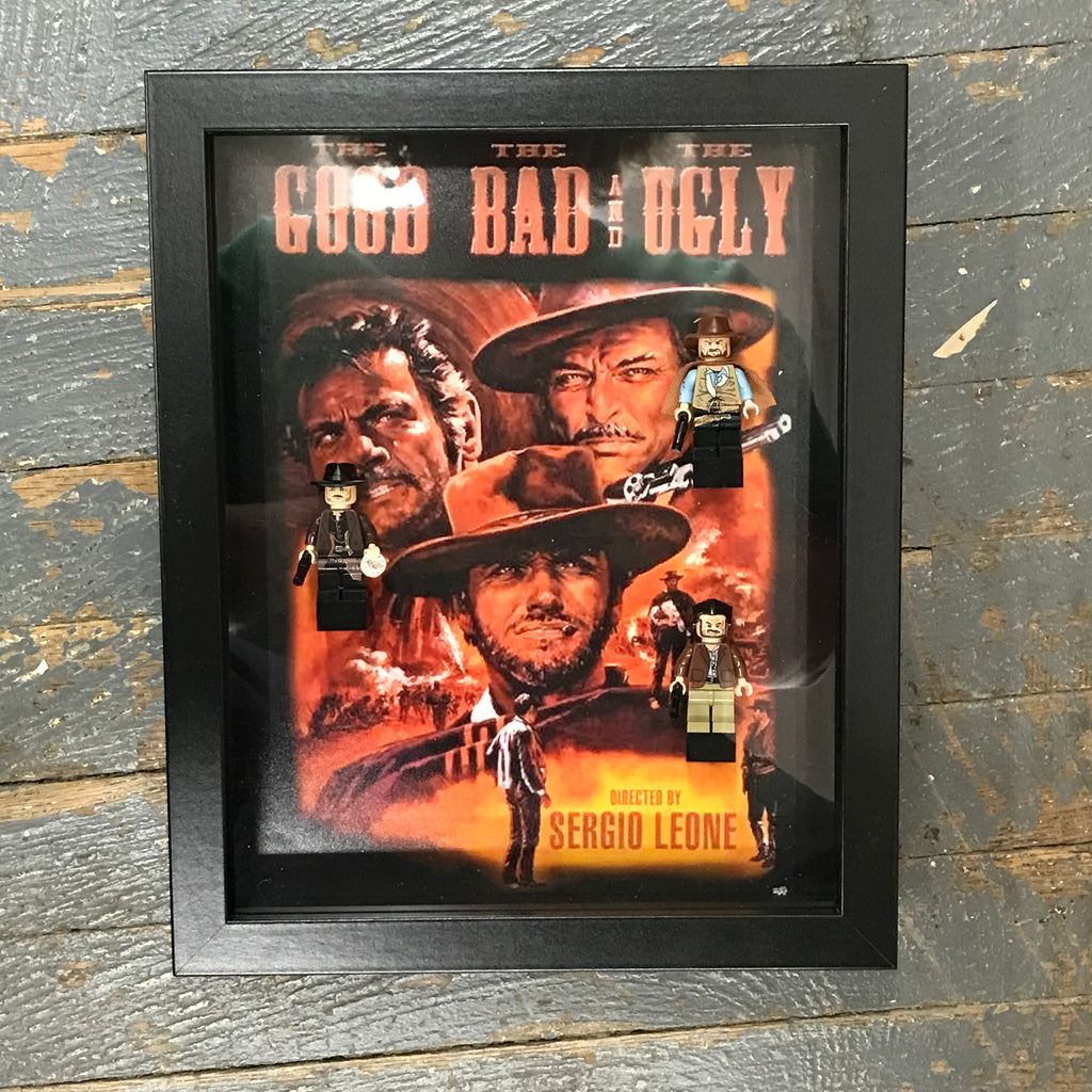 The Good The Bad and The Ugly Western Lego Figurine Wall Display Picture Frame Toy Art