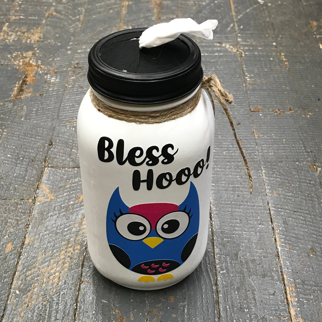 Mason Jar Tissue Holder Bless Hooo Owl