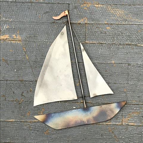Upcycled Metal Nautical Sailboat Welded Gear Art Sculpture