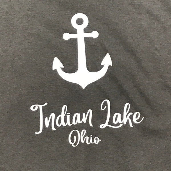 Indian Lake Ohio Nautical Anchor Graphic Designer Short Sleeve Child Youth T-Shirt Grey