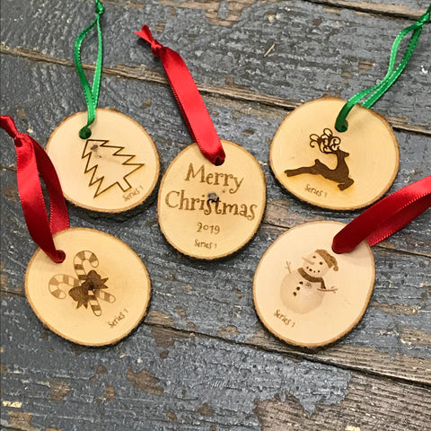 Log Wood Engraved Holiday Christmas Tree Ornament 5pc Set Snowman Reindeer Candy Cane Tree