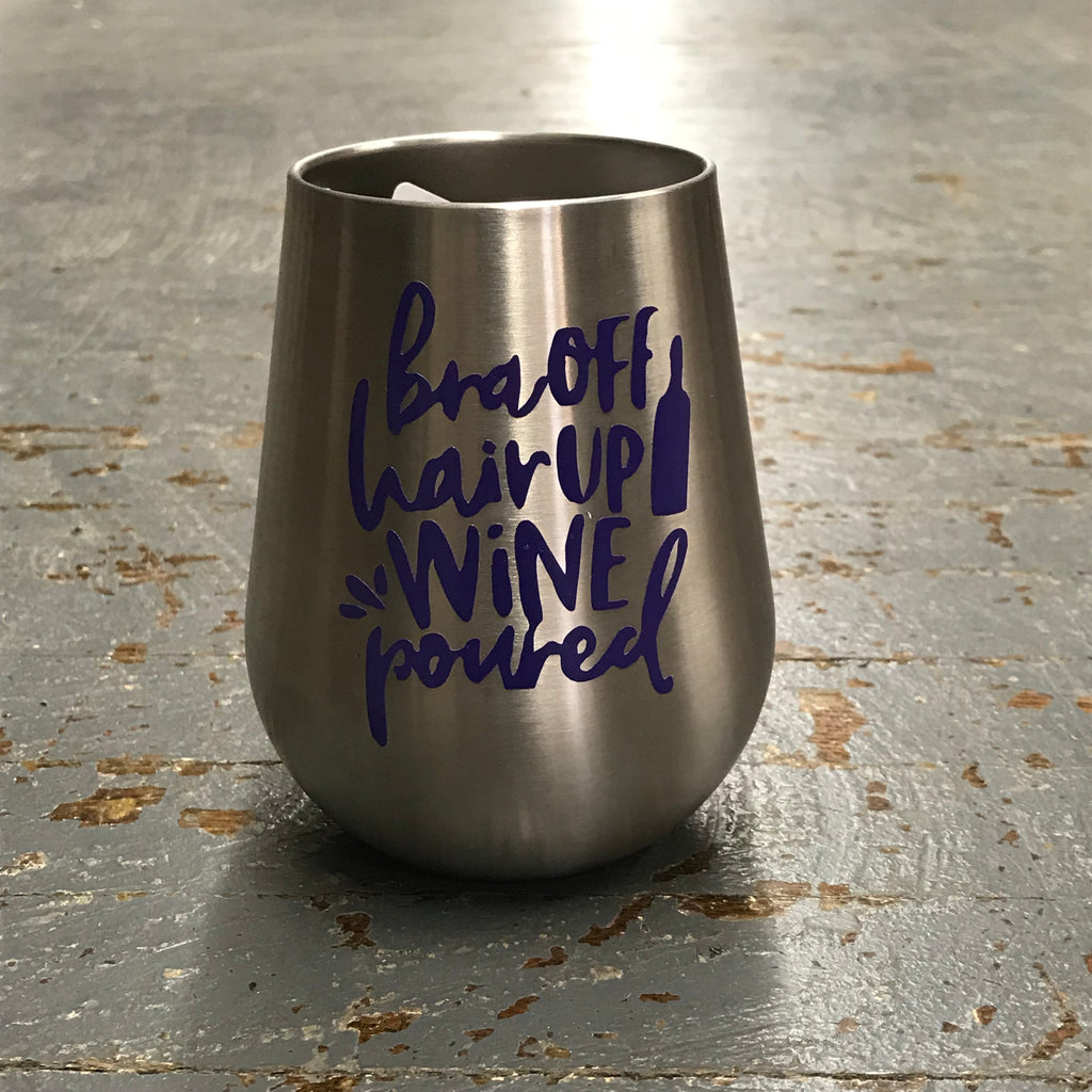 Bra Off Hair Up Wine Poured Stainless Steel 14oz Stemless Wine Beverage Drink Travel Tumbler