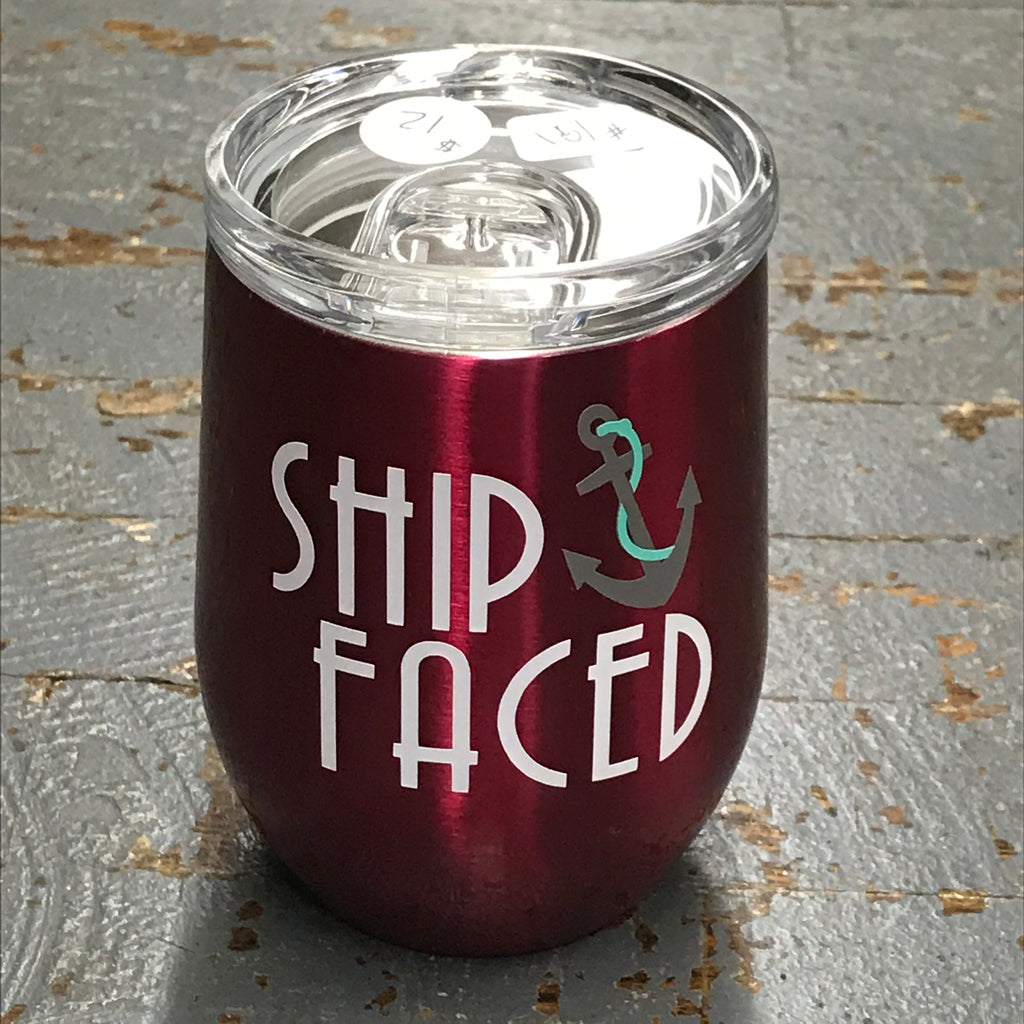 Ship Faced Stainless Steel 12oz Stemless Wine Beverage Drink Travel Tumbler Pink