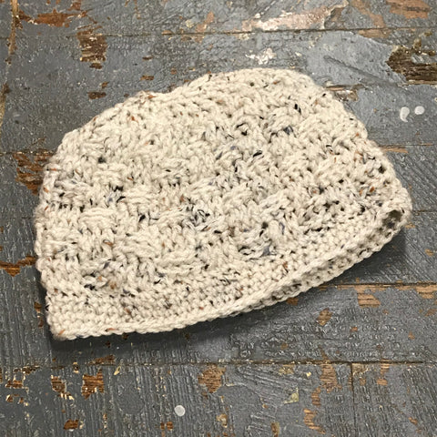 Crocheted Pony Tail Hole Messy Bun Beanie Winter Hat Cap Cream Neutral Fleck D