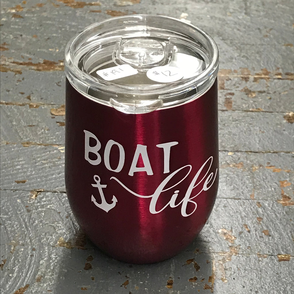 Boat Life Stainless Steel 12oz Stemless Wine Beverage Drink Travel Tumbler Pink