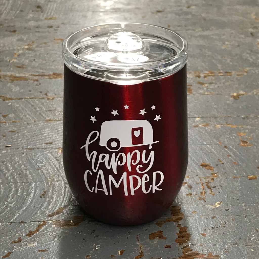 Happy Camper Stainless Steel 12oz Stemless Wine Beverage Drink Travel Tumbler Red