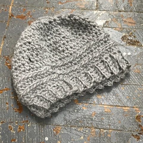 Crocheted Pony Tail Hole Messy Bun Beanie Winter Hat Cap Gray E