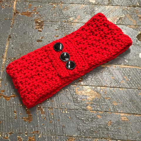 Crocheted Headband Winter Earmuff Bright Red H