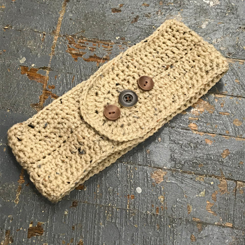 Crocheted Headband Winter Earmuff Neutral Tan L