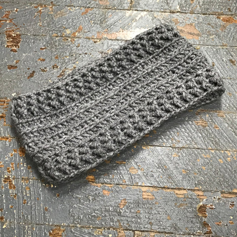 Crocheted Headband Winter Earmuff Dark Grey M