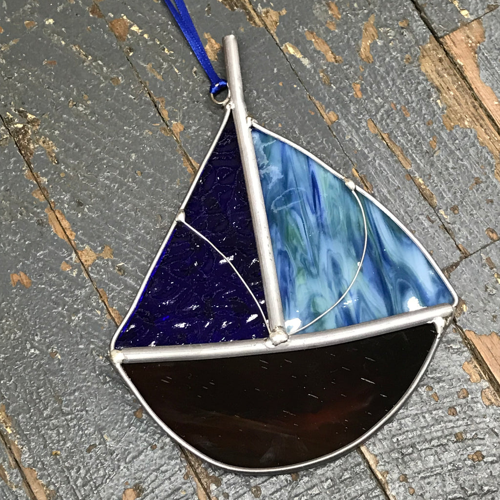 Stained Glass Sun Catcher Ornament Sailboat Blue Green
