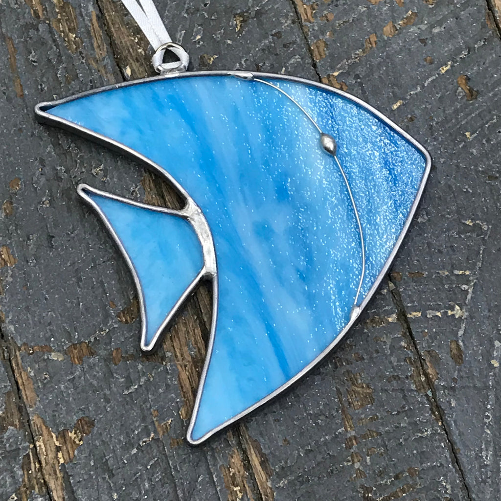 Stained Glass Sun Catcher Ornament Aqua Blue Fish