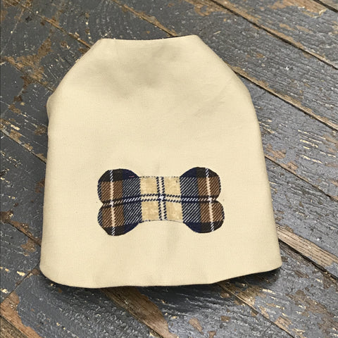 "Khaki Dog Bone Flannel Small 12"" Dog Pet Sweater Coat Vest"
