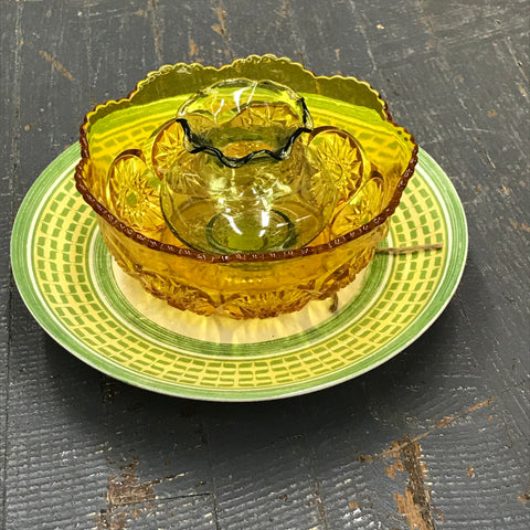 Depression Glass Garden Flower Large Green Yellow Amber Opaque