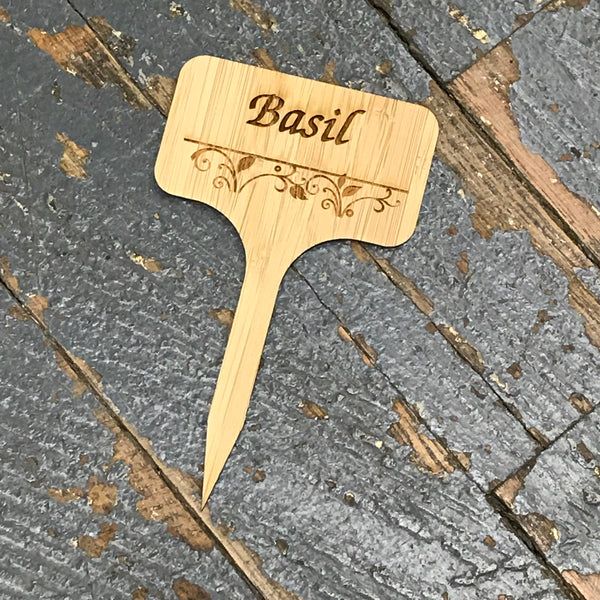 Herb Garden Wood Marker Identification Stick Stake Basil