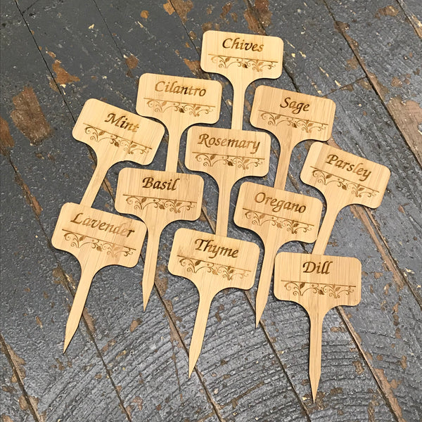 Herb Garden Wood Marker Identification Stick Stake 11pk