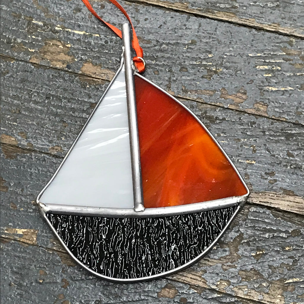 Stained Glass Sun Catcher Ornament Sailboat Black Orange