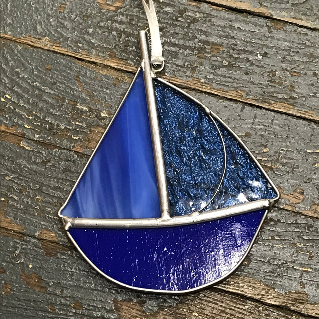 Stained Glass Sun Catcher Ornament Sailboat Blue