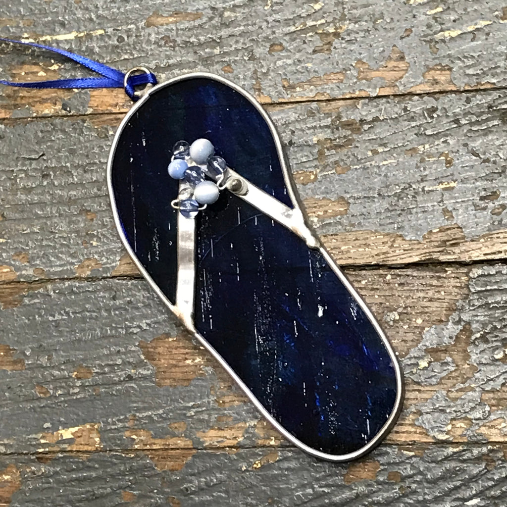 Stained Glass Sun Catcher Ornament Blue Marble Flip Flop Sandal