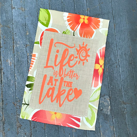 Life is Better at the Lake Burlap Garden Flag Accented Orange