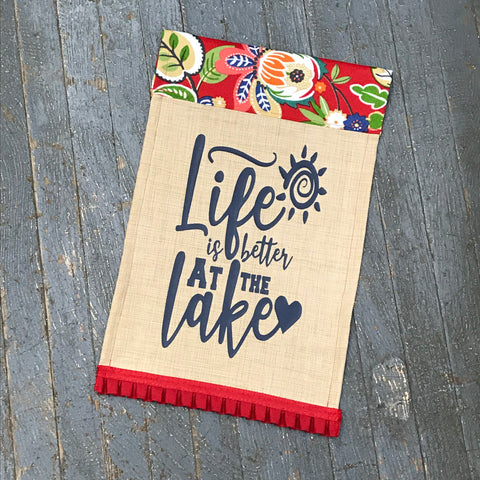 Life is Better at the Lake Burlap Garden Flag Accented Navy