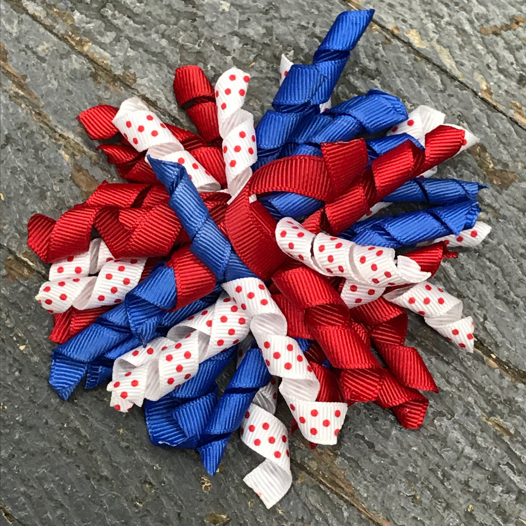 Hair Clip Korker Ribbon Headband Bow Red White Blue Americana