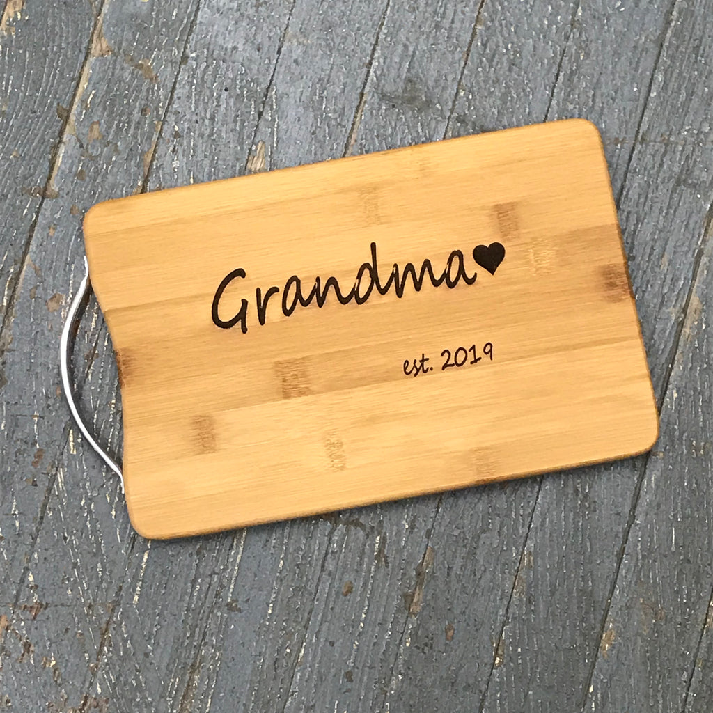 Custom Engraved Bamboo Wood Cutting Board Grandma Est 2019