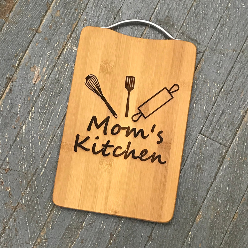 Custom Engraved Wood Cutting Board Mom's Kitchen Baking Utensils