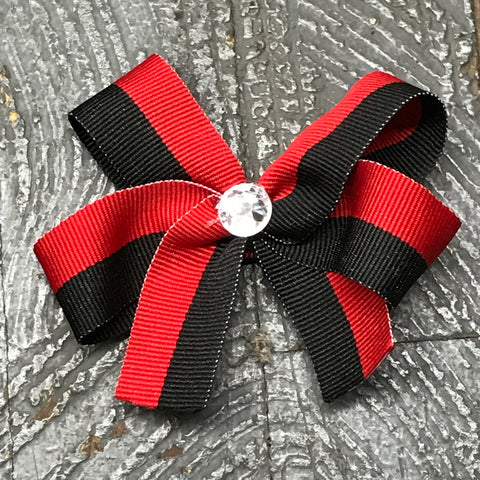 Hair Clip Ribbon Headband Bow Sports Team Color Red Black