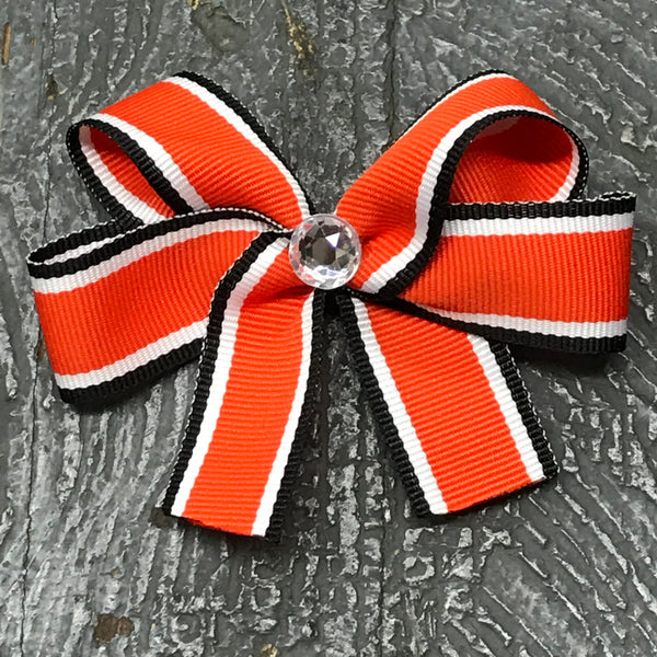 Hair Clip Ribbon Headband Bow Sports Team Color Black Orange