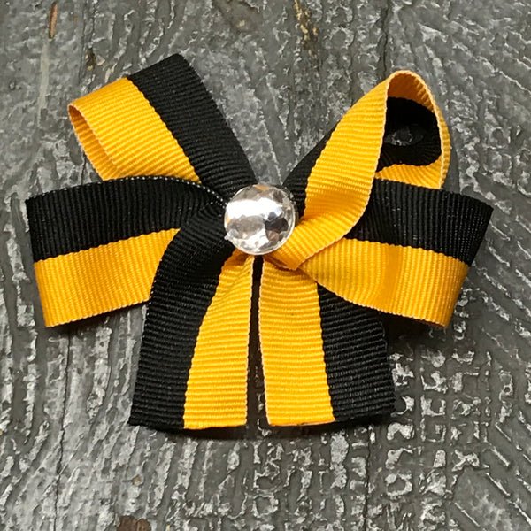 Hair Clip Ribbon Headband Bow Sports Team Color Black Gold