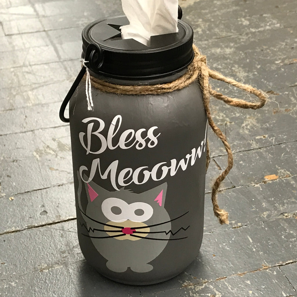 Mason Jar Tissue Holder Bless Meow Kitty Cat