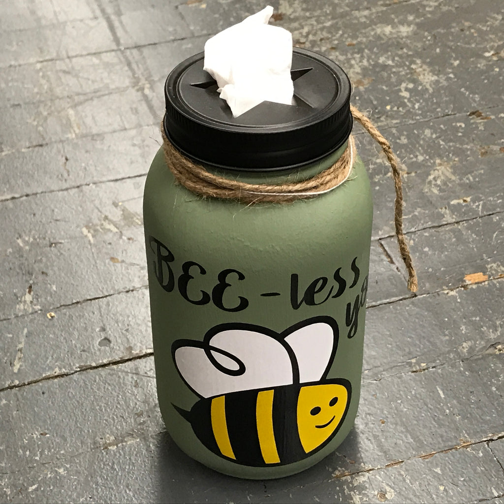 Mason Jar Tissue Holder Bee Less You Bumble Bee