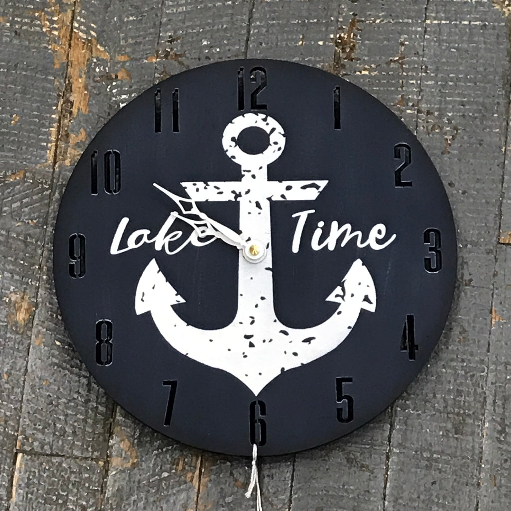 "9"" Round Nautical Wooden Anchor Lake Time Clock Painted Navy"