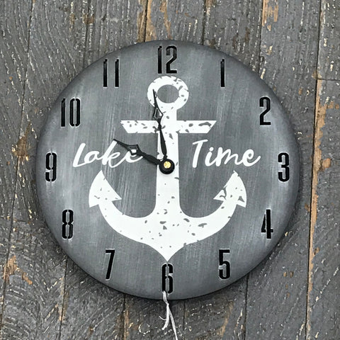 "9"" Round Nautical Wooden Anchor Lake Time Clock Painted Grey"