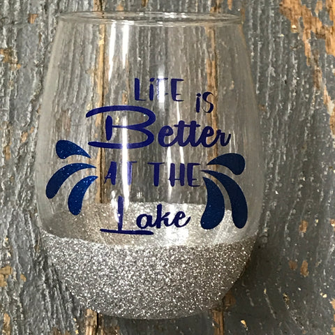 Stemless Wine Glass Glitter Base Life is Better at the Lake Silver