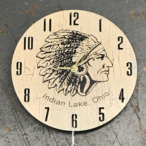 "9"" Round Wooden Indian Clock Painted Indian Lake, Ohio"