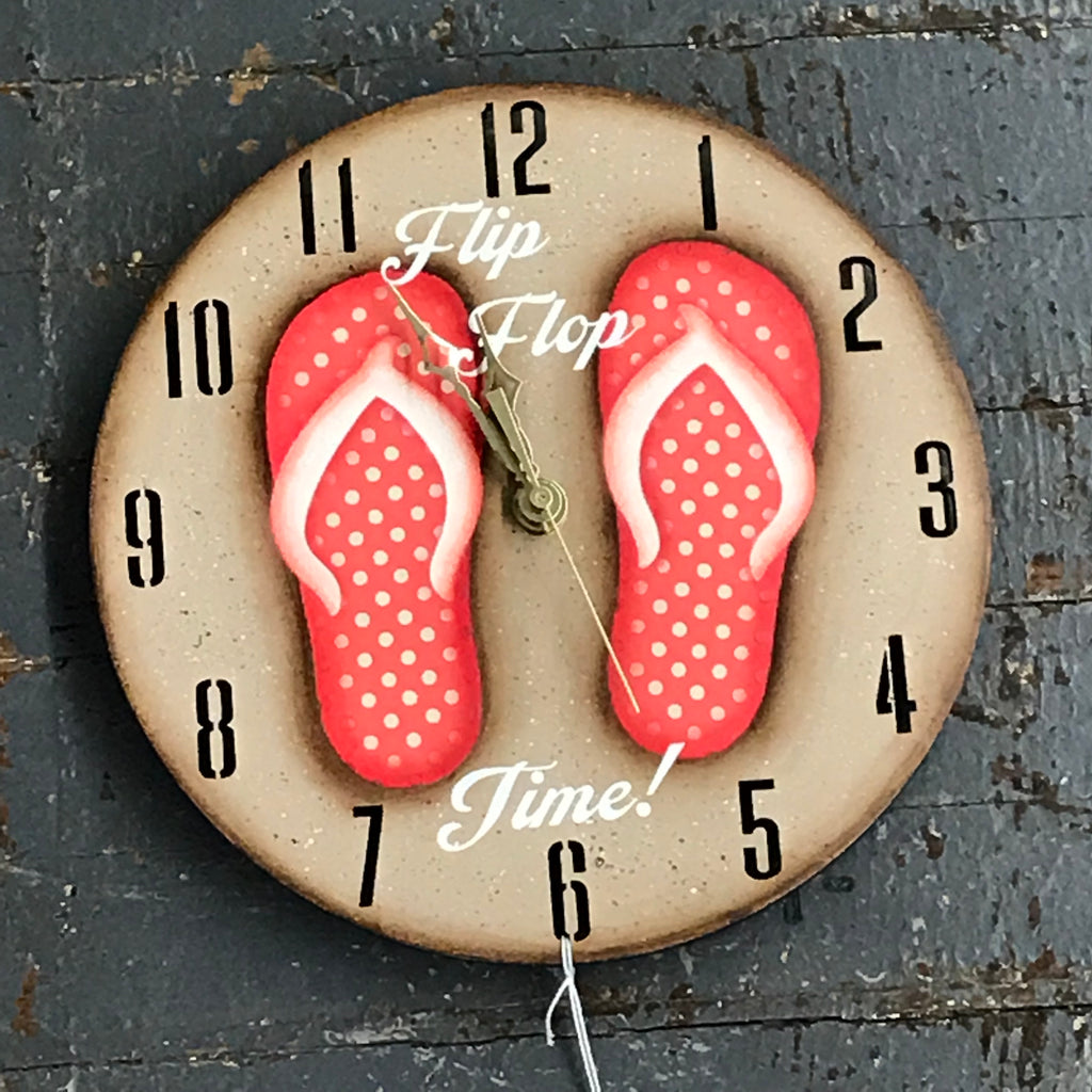"9"" Round Nautical Wooden Flip Flop Clock Painted Coral Polka Dot"