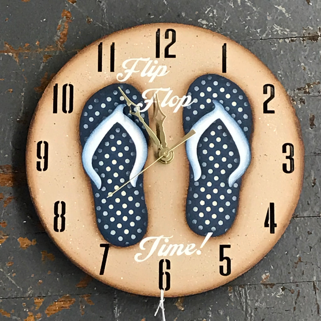 "9"" Round Nautical Wooden Flip Flop Clock Painted Navy Polka Dot"