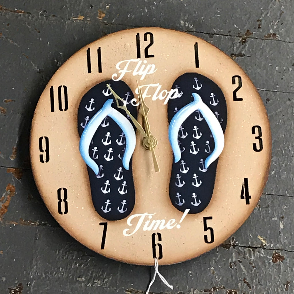 "9"" Round Nautical Wooden Flip Flop Clock Painted Navy Anchor"