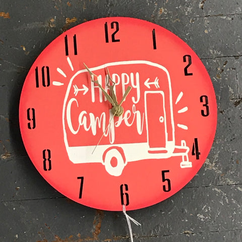 "9"" Round Wooden Happy Camper Clock Painted Coral Retro Camper"
