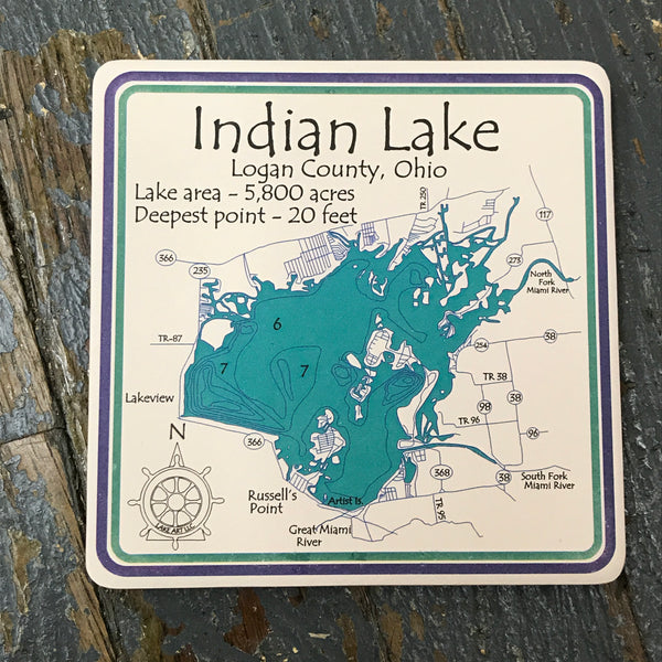 Stone Coaster Set Indian Lake Logan County Ohio Nautical Theme