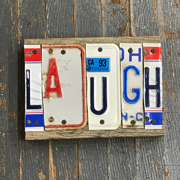 Laugh License Plate Block Word Art