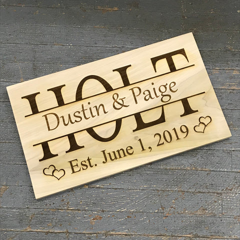 Custom Personalized Laser Engraved Reclaimed Wood Family Name Established Sign