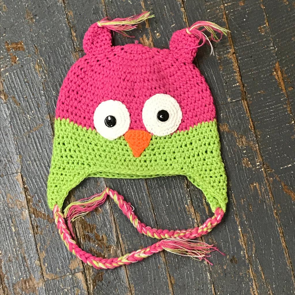 Crocheted Youth Toddler Child Winter Hat Owl Pink Green