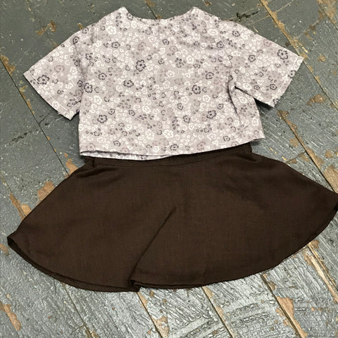 "18"" Doll Clothes Outfit Grey Tan Blouse Shirt Top and Brown Floral Skirt"