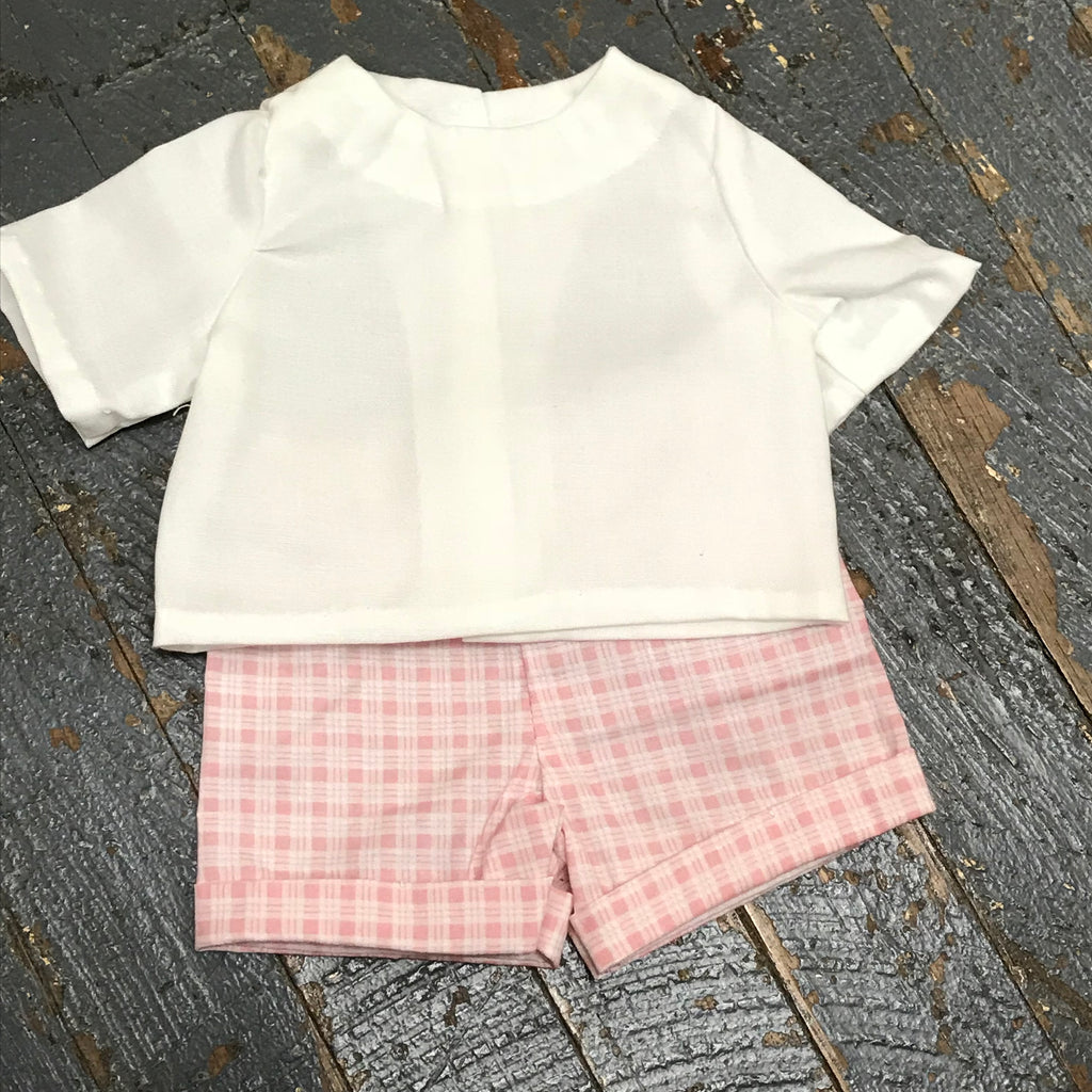 "18"" Doll Clothes Outfit Pink Plaid Shorts and White Shirt Top"
