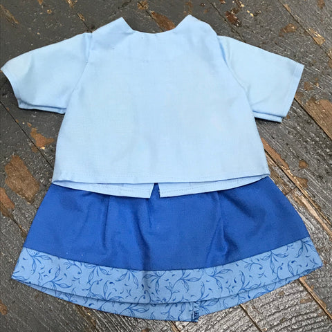 "18"" Doll Clothes Outfit Blue Blouse Shirt Top and Blue Floral Skirt"