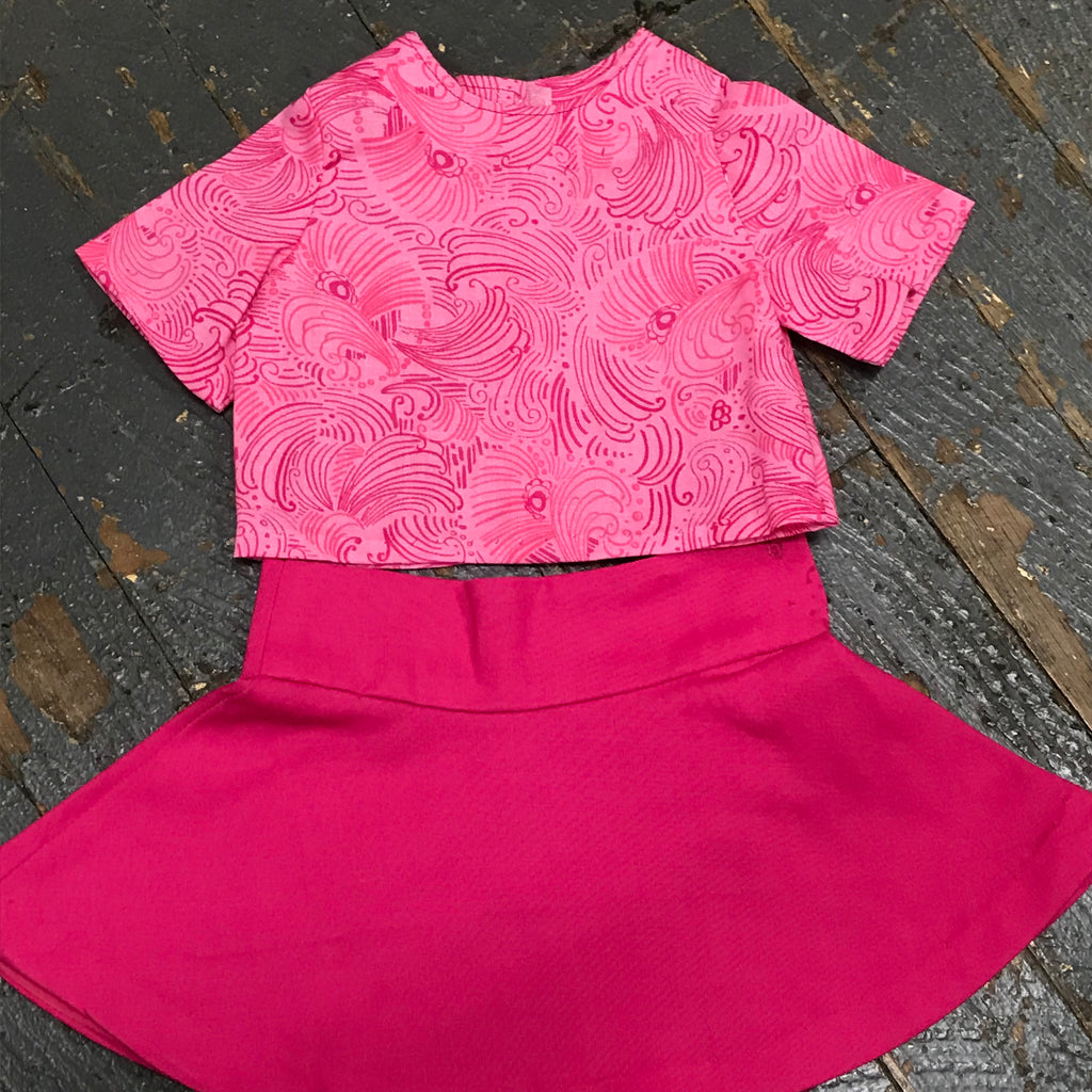 "18"" Doll Clothes Outfit Pink Swirl Blouse Shirt Top and Pink Skirt"