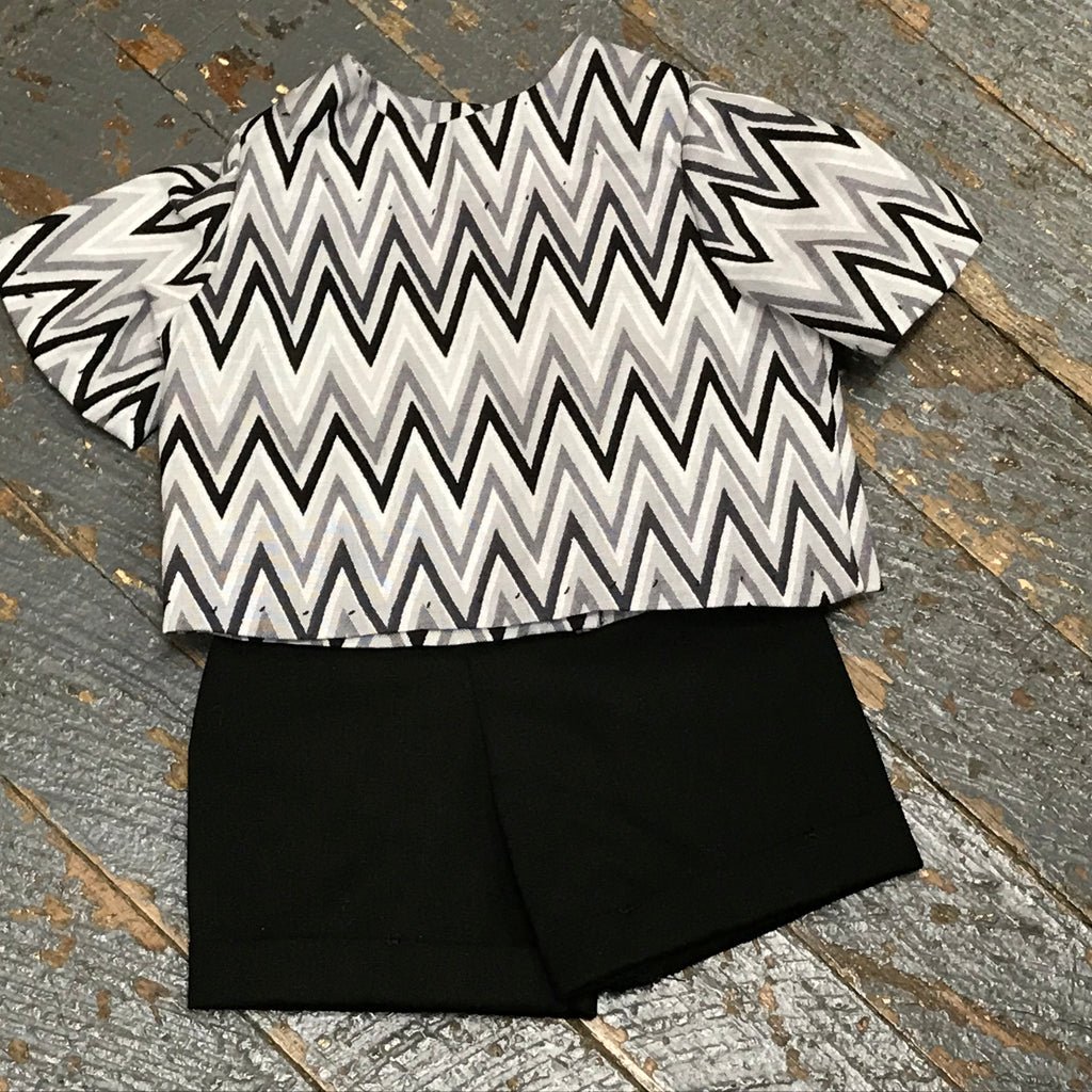 "18"" Doll Clothes Outfit Black Shorts and Grey White Chevron Shirt Top"